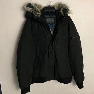 NWT Michael Kors Fur Trimmed Black Coat